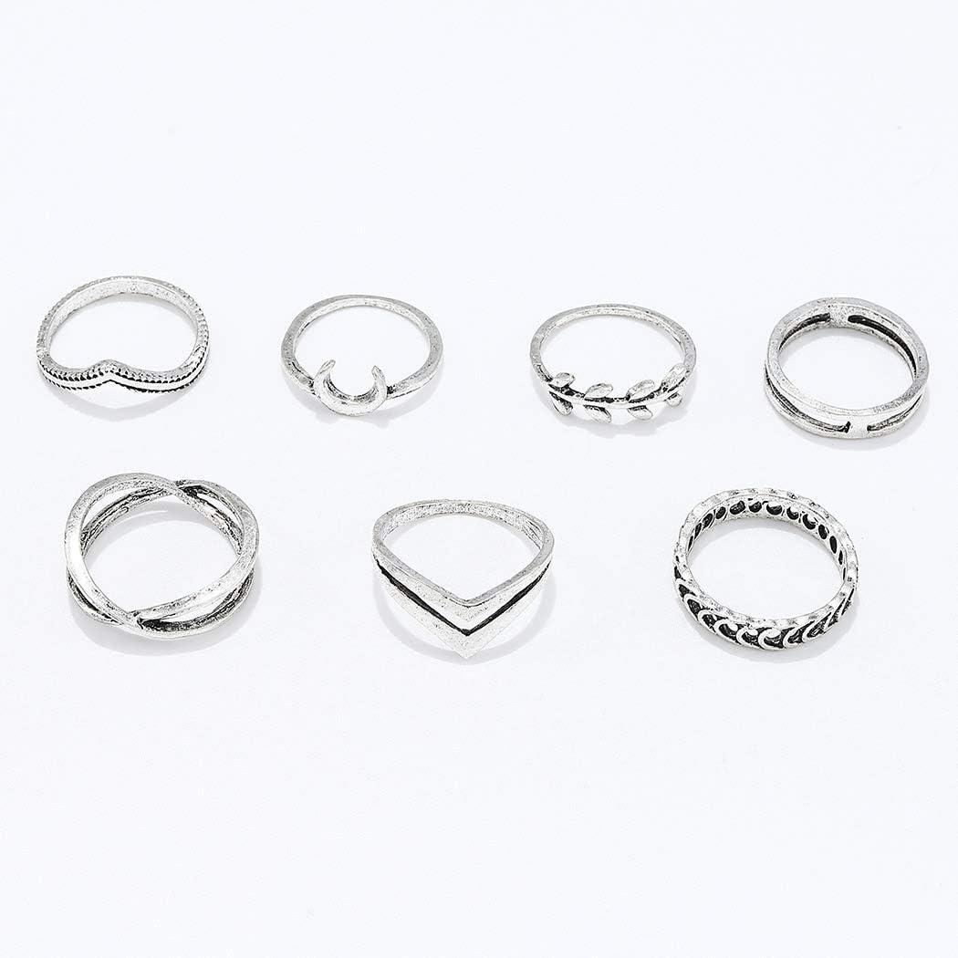 Yean - Juego de anillos bohemios de cristal y plata para nudillos, para mujeres y niñas (7PCs)