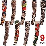 Konsait 9pcs Maniche Tatuaggio, Nylon Elastiche Realistico Tatuaggio Temporaneo Finti Tattoo Sleeve per Uomo Donna, Sportiva Protezione , Ciclismo ,Ventilazione di Protezione Solare