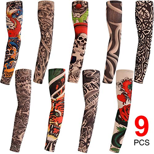 Konsait 9pcs Mangas tatuadas, Mangas Tatuajes Temporales Brazo Medias Falsos...