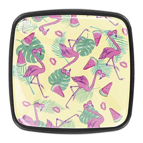 flamingo on mint green background Perillas de extracción de para gabinetes, armarios, puertas y cajones de muebles: se venden como un paquete de 4 perillas