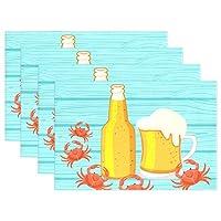 (fohoo) ランチョンマット おしゃれ 布製 ビール カニ 蟹柄 プレースマット 断熱 4枚セット入 気分転換 インテリア 水洗いOK