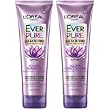 L'Oreal Paris Hair Care EverPure Volume Sulfate Free Shampoo and Conditioner Kit for Color-Treated Hair, Volume + Shine for Fine, Flat Hair, with Lotus Flower (8.5 Fl; Oz each) (Packaging May Vary)