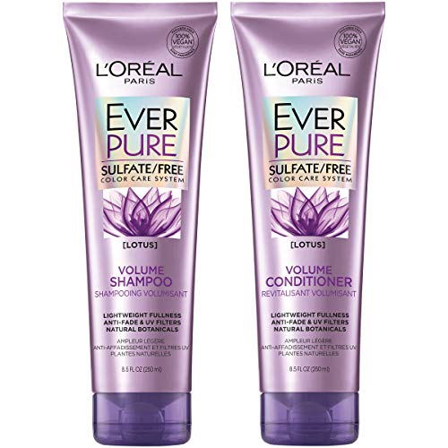 L'Oréal Paris Hair Care EverPure Volume Sulfate Free Shampoo & Conditioner Kit for Color-Treated Hair, Volume + Shine for Fine, Flat Hair, with Lotus Flower (8.5 Fl. Oz each)