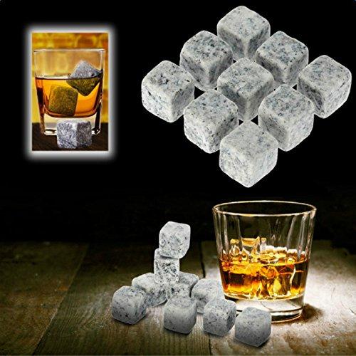 Demarkt Whisky Steine 9 Stück Natürlichen Speckstein Wiederverwendbare Eiswürfel Whiskysteine Speckstein Kühlsteine - 3