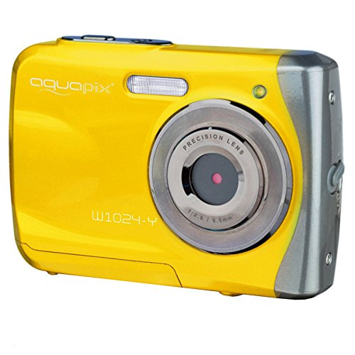 "Easypix Aquapix W1024 - Cámara compacta digital (10 MP, 2.4"", zoom digital 4x, VGA), color amarillo"