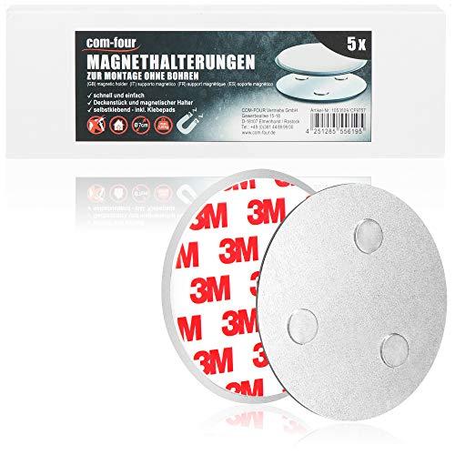com-four® 5er Set Magnethalterung für Sicherheitsmelder - Halterung mit Klebepads für Rauchmelder - Ø 7 cm (05 Stück - Magnethalterung)