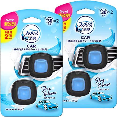 Febreze Car Air Freshener, Clip Type, Easy Clip, Sky Breeze, 6.6 fl oz (2 ml) x 4 Packs