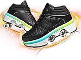 SHHAN Invisible Zapatos con Ruedas, LED Deform Wheels Patines Zapatos con Ruedas Zapatillas Informales, Patines para Caminar Hombres Mujeres Patines De Cuatro Ruedas,Black led,37