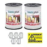 VOSS.farming 2 x Bobines de Ruban 200 m, 20 mm, 5 x 0,16 Acier INOX, Blanc + 5 connecteurs + 1 Plaque de signalisation pour clôture électrique