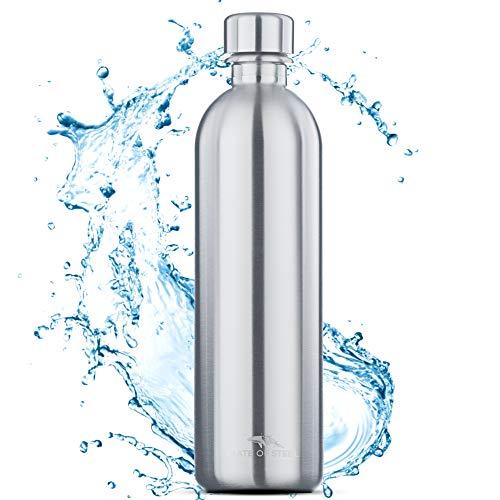 MATE OF STEEL 1L Edelstahl Flasche Kompatibel mit Sodastream Easy - Spülmaschinenfest, Kohlensäure geeignet | 1 Liter Trinkflasche aus Metall | Soda Flaschen | Ersatzflaschen
