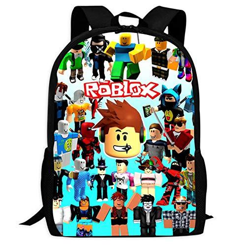 R-o-b-l-o-x Mochila con impresión 3D casual, mochila escolar unisex para escuela, oficina, al aire libre, viajes