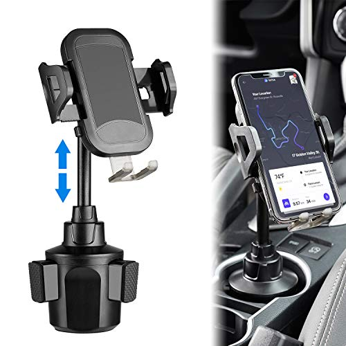 [Upgraded] Car Cup Holder Phone Mount Universal Adjustable Phone Holder for car Compatible with iPhone 11 Pro/XR/XS Max/X/8/7 Plus/6s/Samsung S10+/Note 9/S8 Plus/S7 Edge(Black) by TDTOK