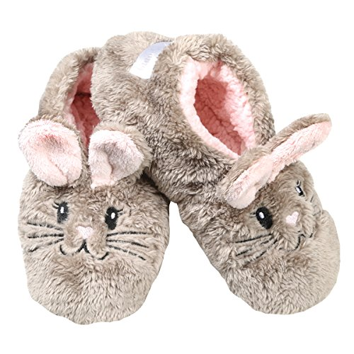 Faceplant DreamsSnuggle Bunny Slipper Footsies,Taupe/Pink,Large (9-10)