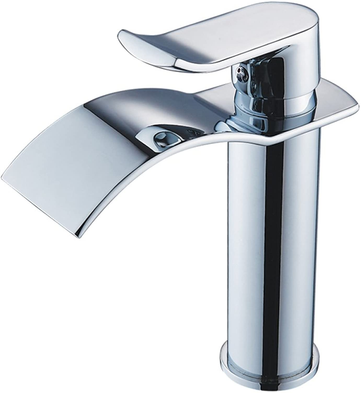 ZQ copper single hole basin faucet wash basin golden basin faucet waterfall faucet valve 195  170mm