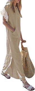 Women Tank Sleeveless V Neck Maxi Long Dress with Pocket