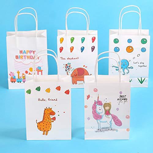 EKKONG Geschenktüten für Kinder, Set 15 Papiertüten Klein mit Henkel, Süß Kraftpapier Mitgebsel Tüten für Kindergeburtstag, Party, Hochzeiten, Weihnachten, Weiß, 15 x 21 x 8 cm(15pcs)