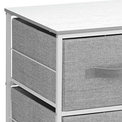 Sorbus Dresser with 9 Drawers - Furniture Storage Chest Tower Unit for Bedroom, Hallway, Closet, Office Organization - Steel Frame, Wood Top, Easy Pull Fabric Bins (4 Drawers, White)