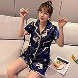 YPDM Conjunto de pijamas de seda de hielo de verano para mujer 2 piezas Ropa de dormir Ropa de dormir de satén suave informal Traje de pijamas Ropa para el hogar Vestido de albornoz con cuello en V XXL, Azul marino 2, XL