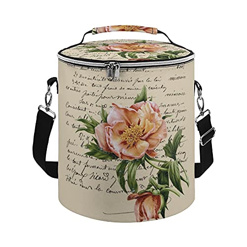 Cooler Bag,Hybrid Tree Peony Redouté Illustration Insulated Tote Bag Large Cooler Bag for Outdoor Activies Hiking,Camping Boating,Beach,Fishing