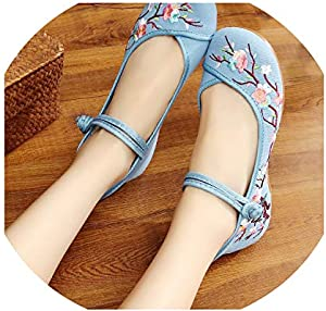 Chinese Women Flats Plum Flower Embroidery Canvas Shoes Ladies Soft Sole Ballerina Shoes