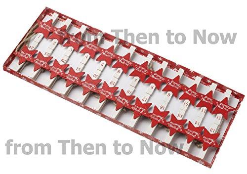 Merry Christmas étoile rouge Guirlande de corde de l'Avent avec 24 Pinces à Linge en bois support à clip