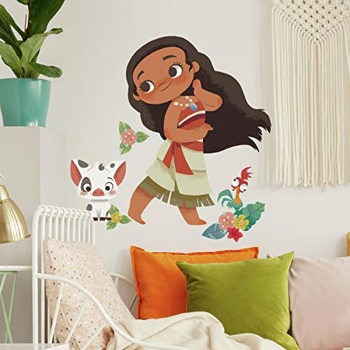 RoomMates RMK4236GM Vintage Moana Peel and Stick Giant Wall Decals,Brown, Green, Red