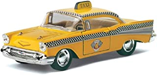 Emob 1957 Chevrolet Bel Air Taxi Collectable - 1:36 Scale Die Cast Metal Metal Body Taxi Pull Back Car Toy with Openable Doors