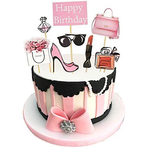 Simon Lee Woodham 8 Stück Alles Gute zum Geburtstag Lady Girls Cupcake Topper, Rose Fashion Cake Topper, ideal für Geburtstag Mädchen Kuchen Dekoration Dusche Junggesellenabschied