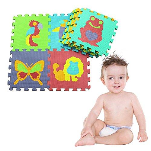 happygirr Alfombra Puzzle para Niños 10 Piezas Colchoneta Rompecabezas Infantil Gomaespuma Suelo de Goma EVA Suave Animal Puzzle Mat de Cada Pieza 30x30 cm