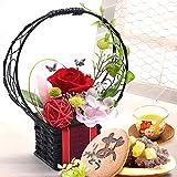 母の日 バラ 花コラボ どら焼き 花とスイーツ プリザーブドフラワー アレンジメント 母の日のプレゼント フラワーギフト (花籠・あか)