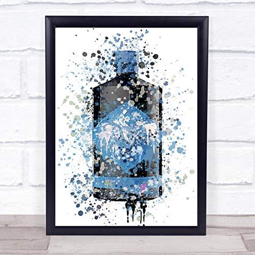 Aquarel Splatter Blauw Lunar Gin Fles Muur Art Ingelijste Print Framed Black Large