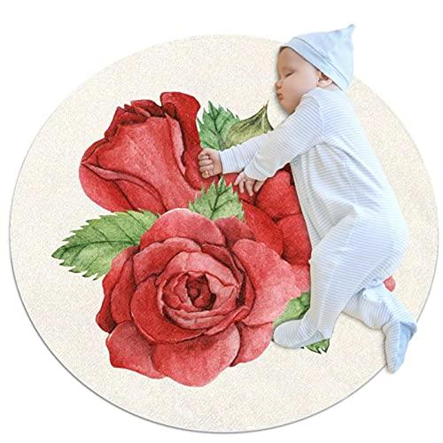 Alfombra redonda redonda de rosa roja para sala de estar, dormitorio, sala de juegos, casa, oficina, silla giratoria, dormitorio, baño, entrada interior y exterior de 39 x 39 pulgadas