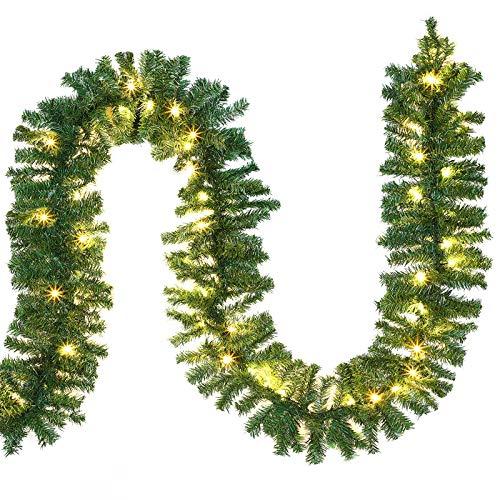 Casaria Weihnachtsgirlande 5m Girlande 100 LEDs Weihnachten Innen Außen IP44 Weihnachtsdeko Tannengirlande warmweiß