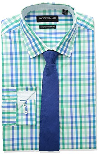 Nick Graham Men's Modern Fitted Multi Gingham Stretch Shirt with Solid tie, Green Aqua, 18-18.5' Neck / 36-37' Sleeve