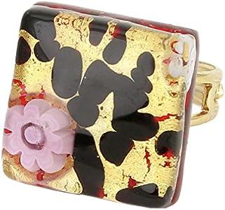 GlassOfVenice Anillo ajustable cuadrado de cristal de Murano con reflejos venecianos – oro Millefiori