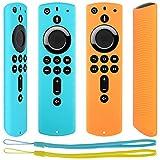 Pinowu Antidérapant Housse Coque [Sangle Incluse] Compatible avec Fire TV Stick 4K / Fire TV Stick (2nd Gen)/ Fire TV Cube/Fire TV (3rd Gen) Télécommande (2pcs: Turquoise et Orange)