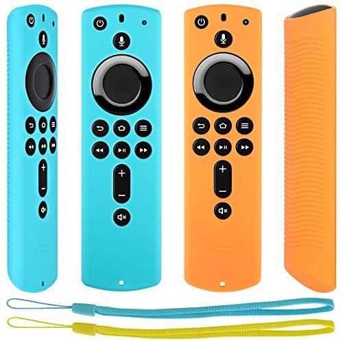 Pinowu Fernbedienung Schutzhülle kompatibel mit Fire TV Stick 4K Alexa-Sprachfernbedienung, Stoßfestes Silikon Haut mit Trageschlaufe (2 Stück: Türkis und Orange)