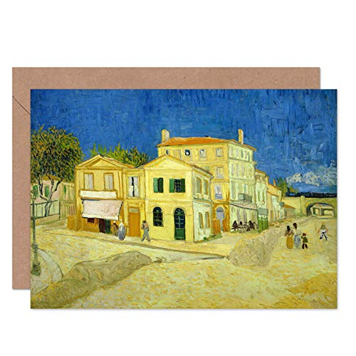 Vincent Van Gogh The Yellow House Fine Art Greeting Card Plus Envelope Blank Inside Amarillo Casa