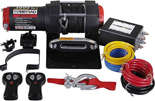 OPENROAD 12V 3000lb Verricello Elettrico Corda in nylon Dyneema sintetico,Telecomando 2-Wireless,riciclabile