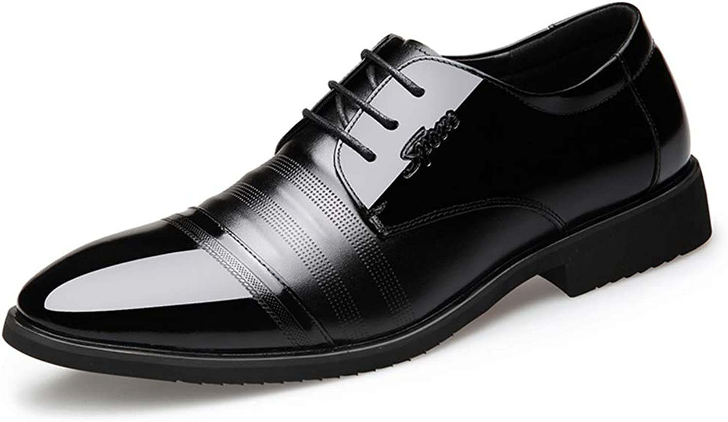 HGDR Mens Black Leather Formal Dress Derby shoes Pointed Toe Business Casual shoes for Wedding Office Party