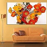 Pintura sin Marco Ramo de Flores de Amapola en jarrón Lienzo Arte Digital Mural decoración Moderna sobre Lienzo ZGQ5974 30X60cm