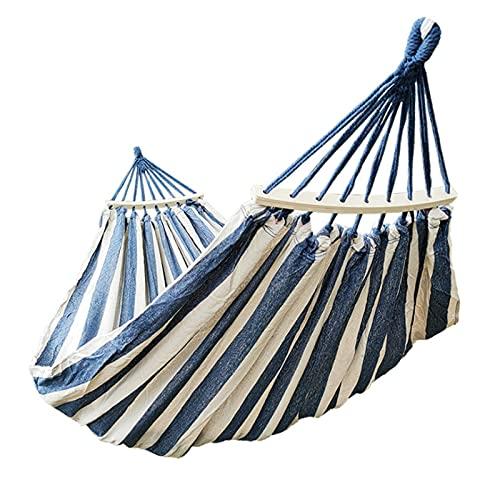 FGJH Camping Hamcock Canvas Swing Bed Mochila Exterior Supervivencia Equipo de Viaje Adecuado para terraza 728 (Color : Blue and White, Size : 200cmX150m)