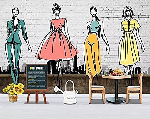 Retro Nostalgic Fashion Bekleidungsgeschäft Grey Brick Wall Wallpaper Tapete wandpapier fototapete 3d effekt tapeten Wohnzimmer Schlafzimmer kinderzimmer-350cm×256cm