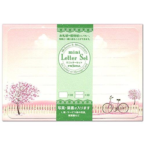 春柄 ミニレターセット 桜と自転車 MLS-081 (32) 便箋10枚・封筒10枚 フロンティア