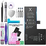 Batería para iPhone X 3400 mAh, Batería de Repuesto Super Capacity con Kit de reparación Profesional, Compatible con los Originales A1865, A1901, A1902