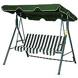 outsunny dondolo da giardino a 3 posti con tettuccio parasole inclinabile in acciaio 172 × 110 × 152cm verde e bianco