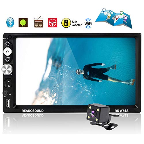 Double Din Car Stereo Android Car Radio Navigation Car Audio with Bluetooth 7'' HD Touch Screen Car MP5 Player Support GPS WiFi USB Subwoofer FM Radio Android/iOS Mirror Link with Backup Camera