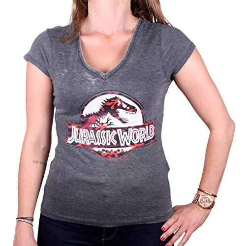 Jurassic World – Maglietta da donna con licenza Premium Vintage – Classic Logo (grigio) (S-XL) grigio. S