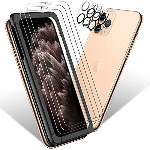 Sanyee Schutzfolie Kompatibel mit iPhone 11 Pro Panzerglas 5.8Zoll(3 Stück)+ Kamera Panzerglas(3 Stück),Mit Positionierhilfe,9H Härte,HD Klar Glas Displayschutzfolie Kratzen,Blasenfrei