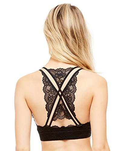 Sugar Women's Lace Wire Free Bralette with Sexy Back Detail, Breathable, Unpadded, Comfortable Plunge Bra Intimates Medium Black